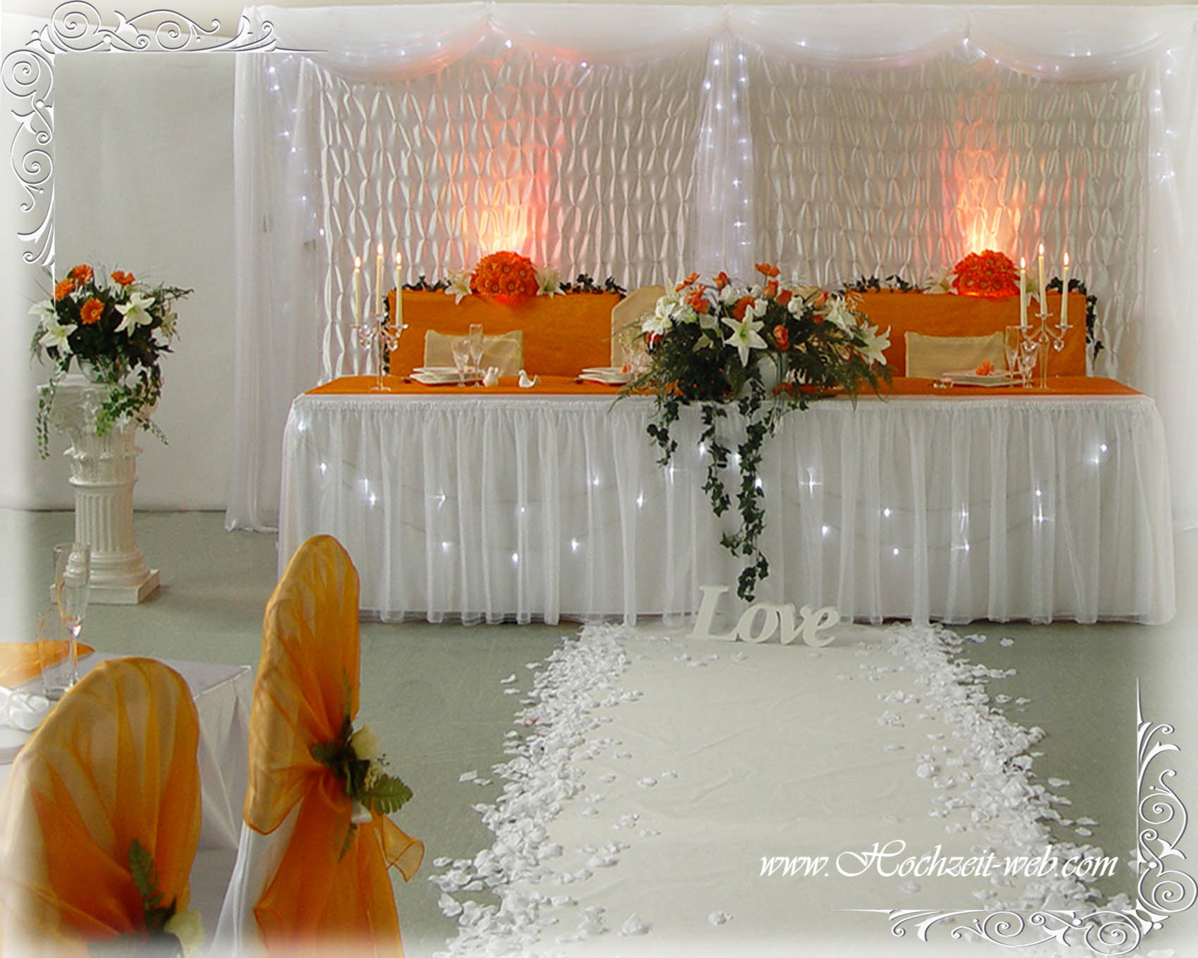Extravagante Hochzeitsdekoration In Orange Farbe