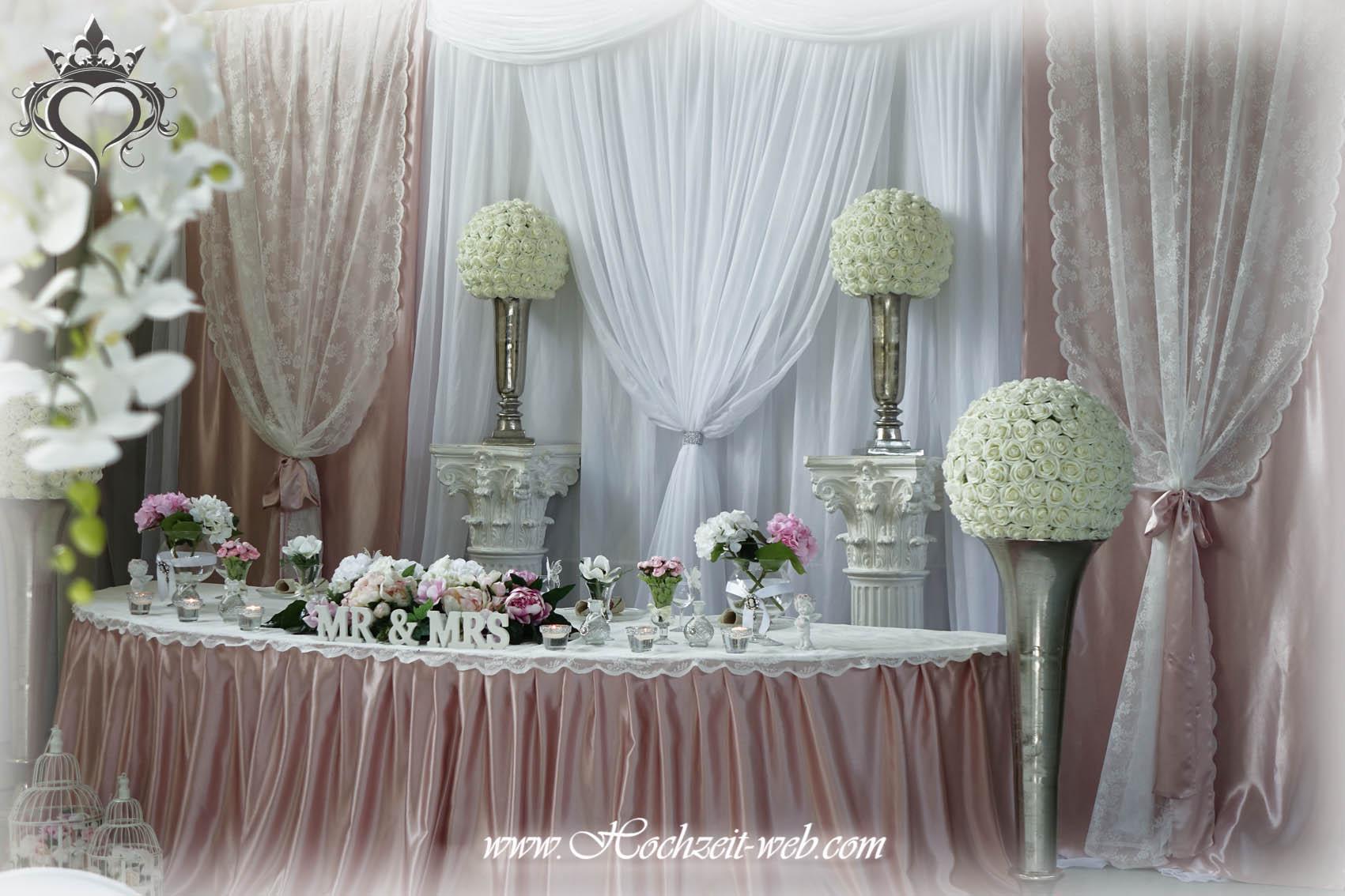 Brauttisch oder verlobungstisch in allen farben for Dekoration in altrosa
