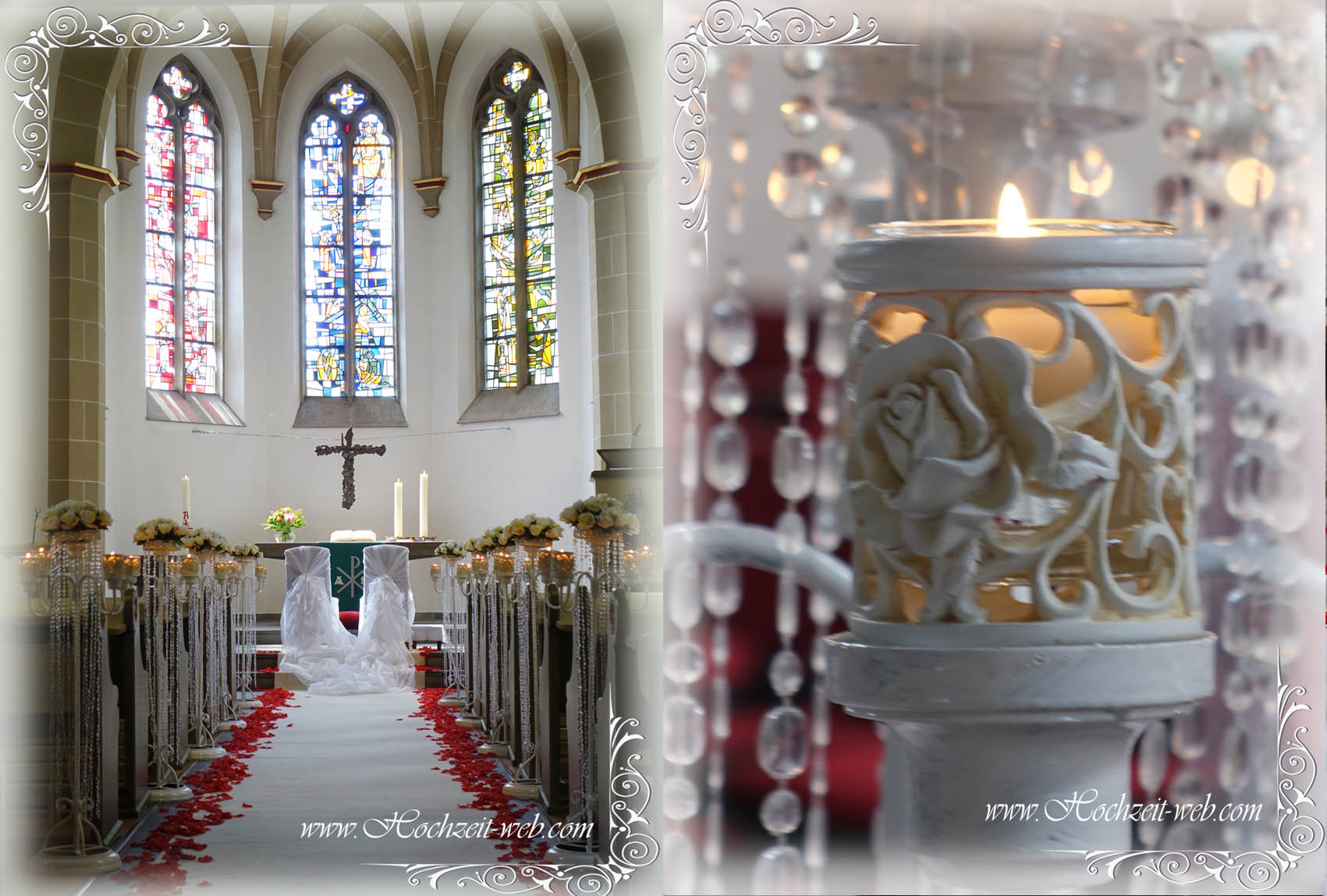 Kirchendekoration und Dekoration für Trauung im Freien.