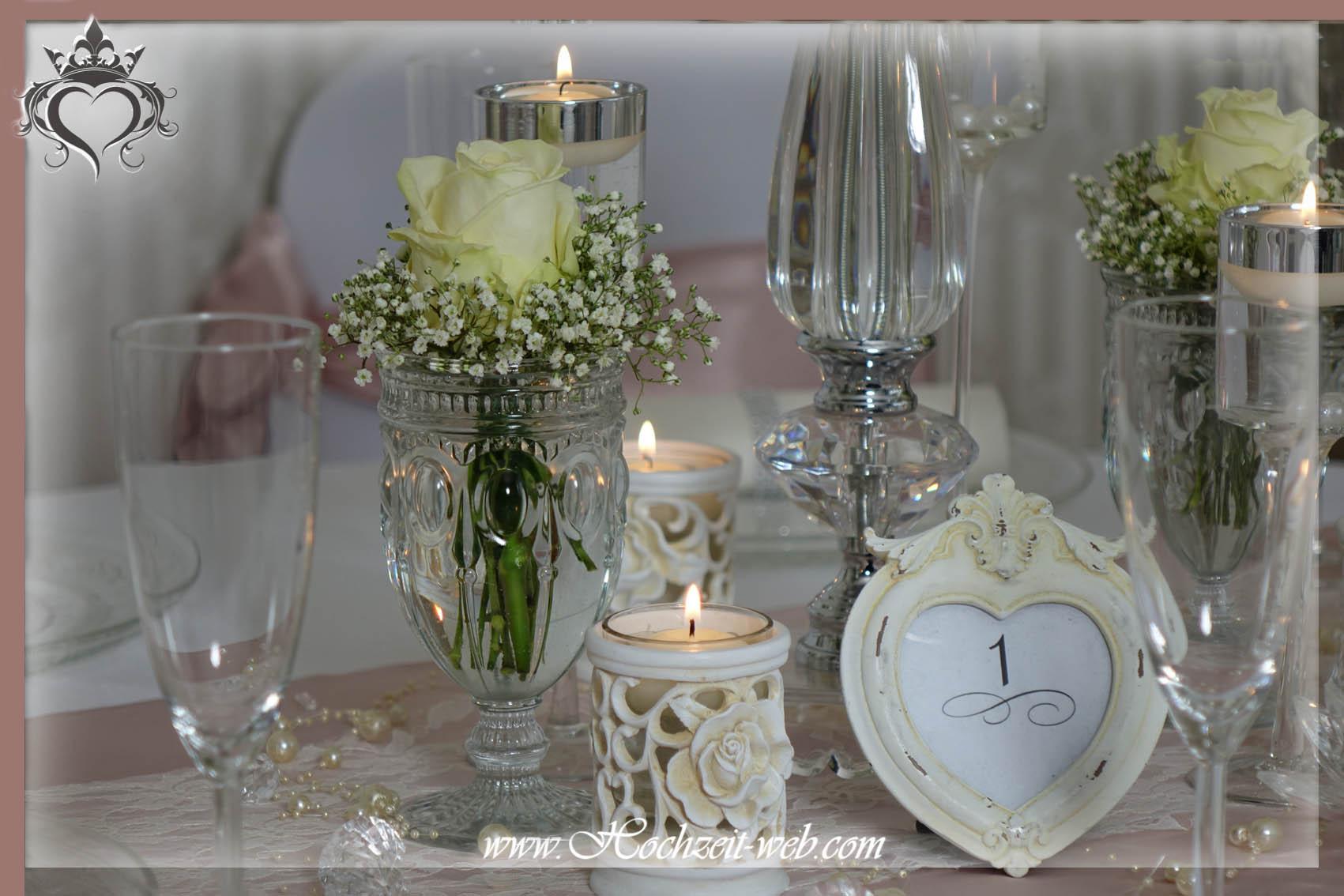 Elegante und extravagante vasen f r tischdekoration for Altrosa dekoration