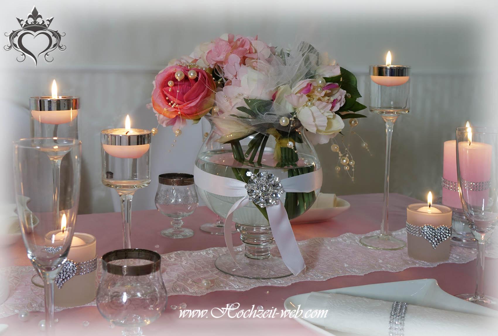 Elegante und extravagante vasen f r tischdekoration hochzeitsdeko - Hochzeitsdeko grau rosa ...