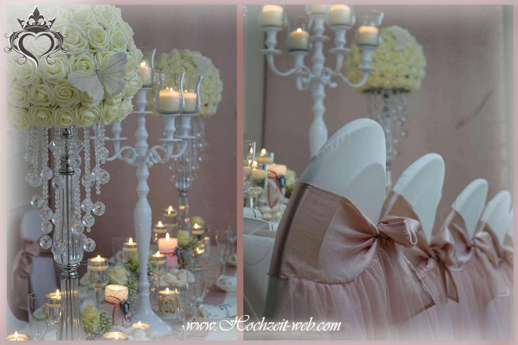 Hochzeitsdekoration stuhlhussen by hochzeit for Altrosa deko