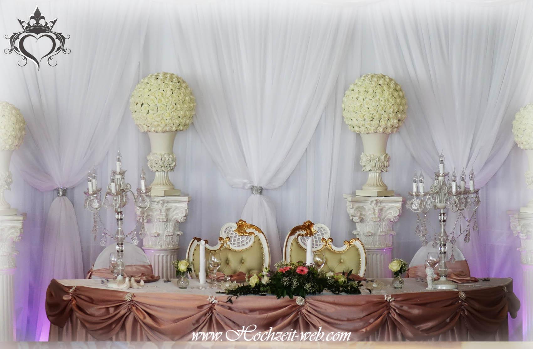 Hochzeitsdekoration -Dekoration-altrosa-Brauttisch-4