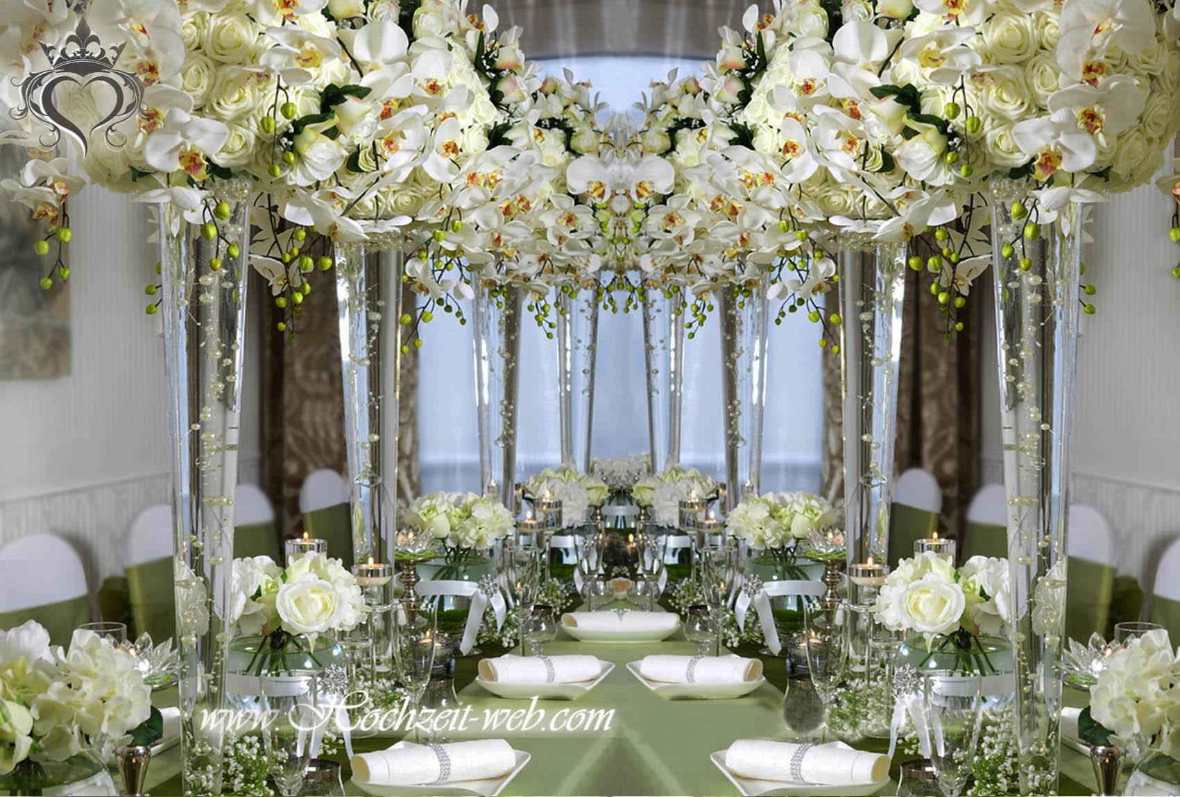 Hochzeitsdekoration Deko Hochzeit Hellgruen  Orchidee Teelichterhalter